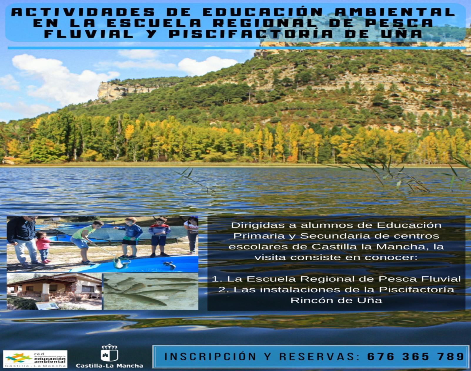 CARTEL ACTIVIDADES EDUCACION AMBIENTAL ESCUELA REGIONAL PESCA FLUVIAL