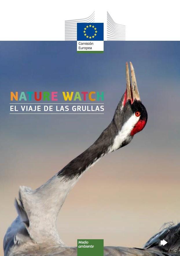 Portada folleto Nature Watch: El viaje de las grullas